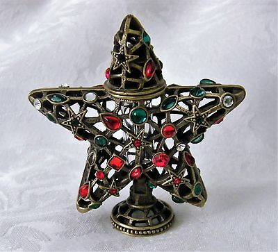 Metal Star Perfume Bottle with Crystal Accents As New