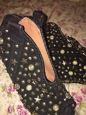 HerStyle Size 8 Gold Studded Black Peep Toe Wedge Heel Booties Shoes
