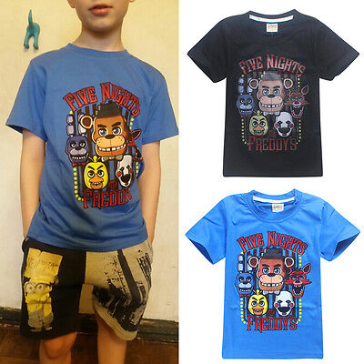 Limited Promotional Boys Kid Five Nights at Freddy's T-Shirts Tops For 4-10Years