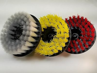 3 x Carpet Brush w/ Drill Attachment, Floor Cleaning, Stain Removal, Upholstery