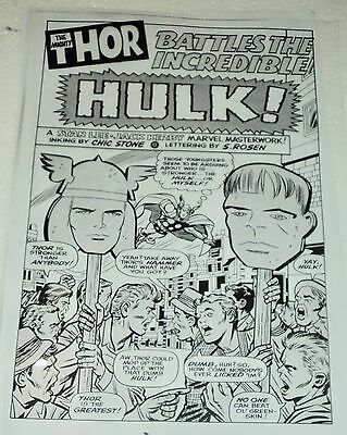 Mighty Thor Versus Incredible Hulk Intro Page Art Production Acetate