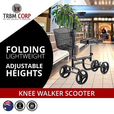 Knee Walker Mobility Scooter Adjustable Height Folding Comfortable Brakes Basket