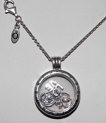Genuine PANDORA Medium Silver FLOATING Locket 3 Charms On Chain & Heart Earrings