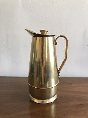 Maxwell Phillip Antique Vintage Brass Carafe Insulated Pitcher Wicker Handle Lg