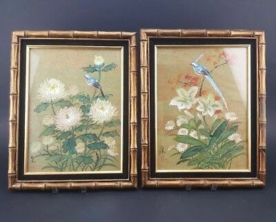Pair of Chinese Watercolor Paintings on Cork Paper