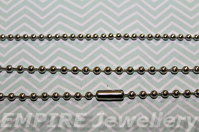 3 x Silver Tone Ball Chain Necklaces 2.0mm Diam Approx 46cm Long Antique Tibetan