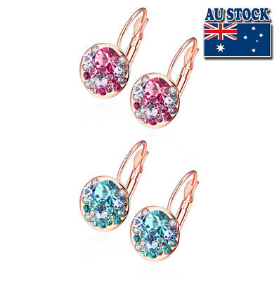 18K Rose Gold Filled Elegant Colorful Earrings  Round Swarovski Crystals