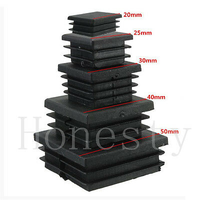 30/50pcs Plastic Blanking End Cap Square Tube Inserts Pipe Box 25/ 30/ 40/ 50mm