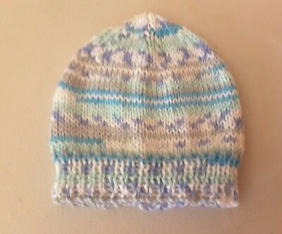 Newborn beanie/hat  - Hand Knitted - Colour - Greens, Grey, Blue and White