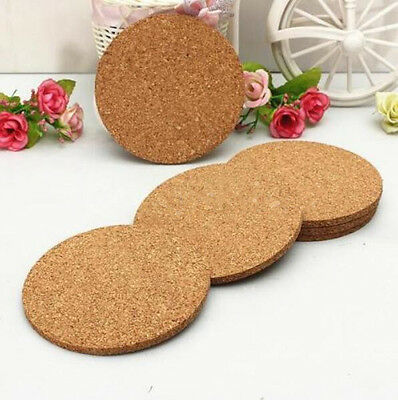 6x Round Cork Coasters Drink Placemats Plain Coffee Wine Cup Mat Tea Craft