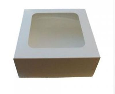 "100 x White Windowed Display Cupcake Cake Boxes 7"" x 7"" x 3"""
