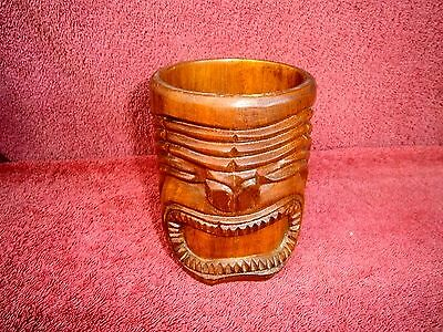 Vintage  Hawaii  Hand Carved  Tiki  Face Wood  Mug