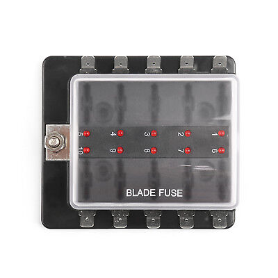 SCI R3-76 1 Power In 10 Way Blade Fuse Box LEDFuse Holder Kit Car/Boat/Marine B4