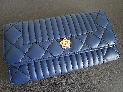 Brand New Ladies Leather Wallet Quilted Navy Blue