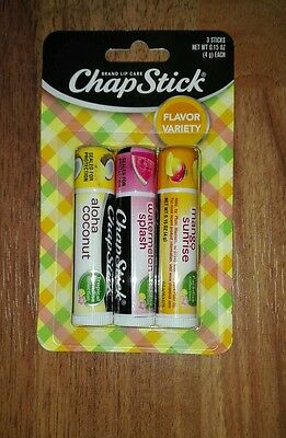 3 x Chap Stick aloha coconut,watermelon splash&mango sunrise limited Edition