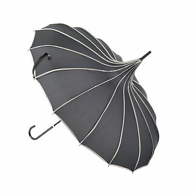 Topwedding 35'' Nylon Pagoda Sun Parasol Bridal Umbrella,Black