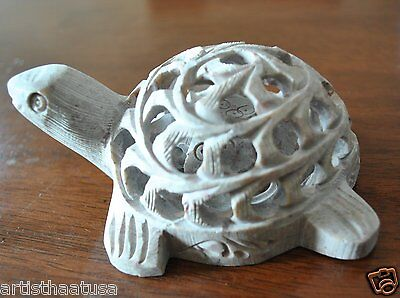 Artist Haat Turtle VINTAGE HAND CARVED SOAPSTONE TURTLE WITH BABY INSIDE