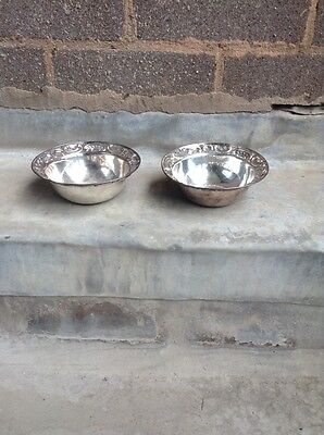 "Antique Pair of 5"" silver bowls - London 1890- 179grams"