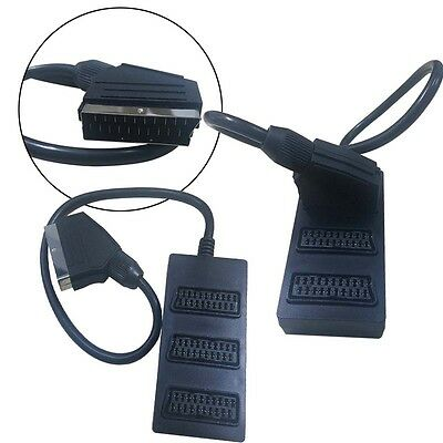 3 Way Splitter SWITCH BOX VIDEO Cable Adapter 3 Devices to 1  Scart Connection