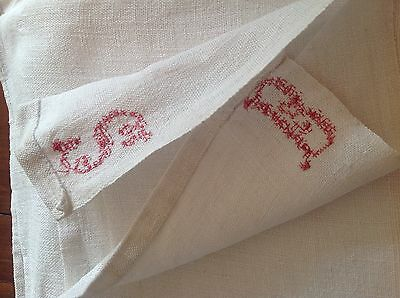 Two Early French Hemp Linen Sheets With Red Cross Stitched Initials