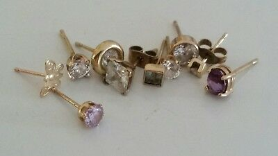 Bunch of Old Odd 9k Gold Earrings Studs with Stones