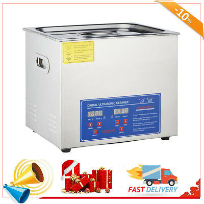 10L Industry Heated New Stainless Steel  Ultrasonic Cleaner Heater w/Timer