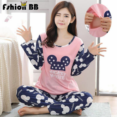 New Women Pregnant Nursing Clothe Maternity Pyjama Breastfeeding Sleepwear Set