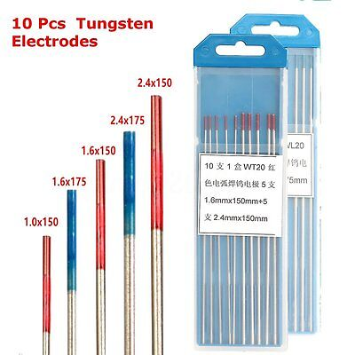 10pcs WL20/WT20 Tip TIG Tungsten Electrode Thoriated Welding Electrode Red/Blue