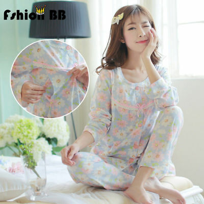 New Pregnant Nursing Clothes Maternity floral Pyjama Set Breastfeeding Sleepwear