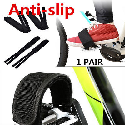 1 pair Black Cycling Bike Anti-slip Bicycle Pedals Toe Clips Straps Fixie Belt