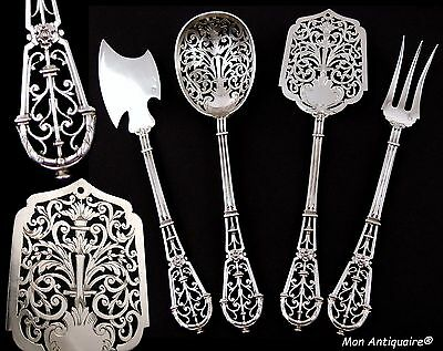 PUIFORCAT Antique French Sterling Silver Serving Set Pastry luncheon Ferrure