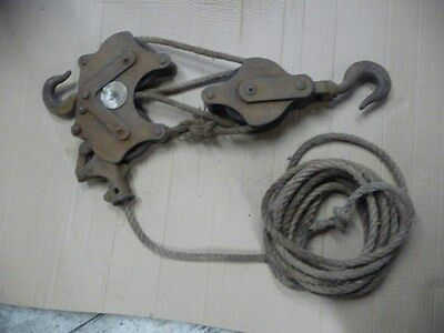 Vintage block and tackle lifting equipment good for display