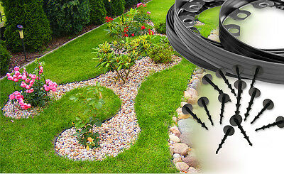 Garden Flexible Lawn Grass Plastic Edging Border, 10meters+30 extra strong pegs