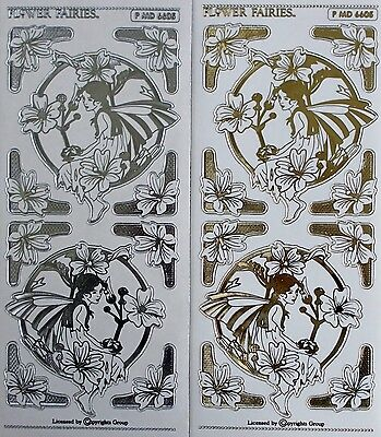 FLOWER FAIRIES Embossed Transparent Clear Peel Off Stickers Corners Round