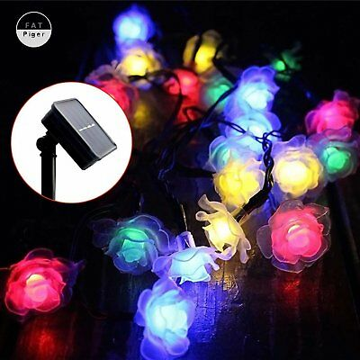 Solar Powered Rose Flower Weeding 30LED Fairy String Lights Outdoor Garden Patio