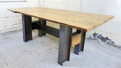 Live Waney Edge Beech Wood on Solid British Steel H Frame Base Industrial Reclai