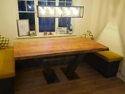 Live Edge Waney Oak on Solid British Steel  Angled H Base 7ft x 3 ft (other size