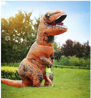 1*Inflatable Dinosaur Costume Adult Jurassic World Park Blowup Fancy Dress Suit