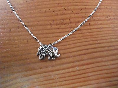Vintage Nevada Sterling Silver Marcasite Elephant Necklace 925 47cm Long