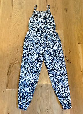 ❤️ H&M Girls Lightweight Patterned Floral Jumpsuit size 6 - 7 yrs 100% Rayon EUC