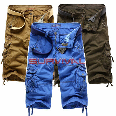 Mens New Cargo Long Walk Shorts 6 Pocket Casual Pants Sizes 28 To 36