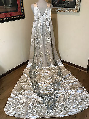 Antique French Couture  Neo Classical Court Train  Embroidered Jeweled Beadwork
