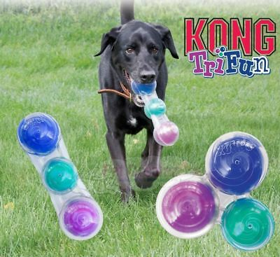 Kong Tri-Fun - Interactive Dog Puppy Squeaky Crackle Fetch Toy - 3 Fun Sounds!