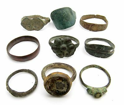Lot Of 9 Roman / Medieval Bronze Rings For Cleaning - Wearable Lovely - K793