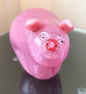 Orient & Flume - Pesky Pink Pig Glass Decor Ornament or Paperweight - (22714PC)