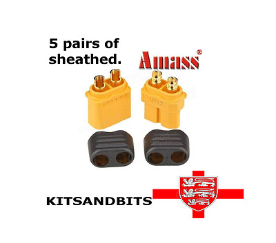 5 pairs Amass XT60 Male & Female Connectors with insulating caps.UK Based seller