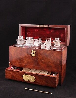 Fabulous mahogany XIX century travelling apothecary case Thomson w full contents