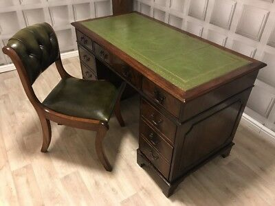 Antique Style Green Leather Top Writing Desk &Chesterfield Chair Set FREE UK P&P