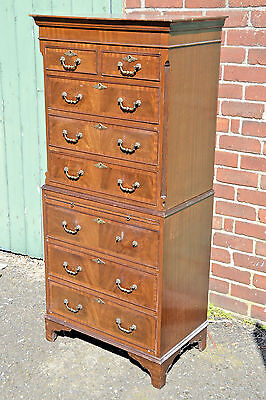 Vintage Chest On Chest Chest Of Drawers With Pull Out Slide Tall Boy