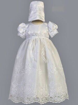 Girls White Christening Dress Baptism Gown Satin Embroidered Organza & Sequins